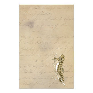 Old Fashioned Seahorse on Vintage Paper Background Stationery