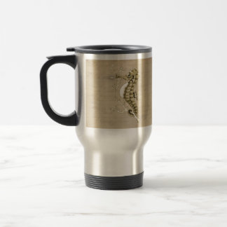 Old Fashioned Seahorse on Vintage Paper Background Travel Mug