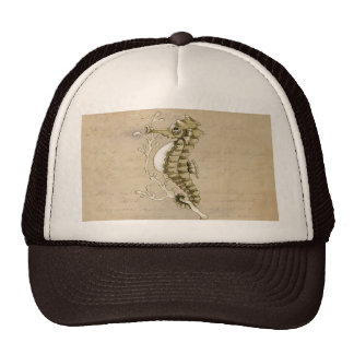 Old Fashioned Seahorse on Vintage Paper Background Trucker Hat
