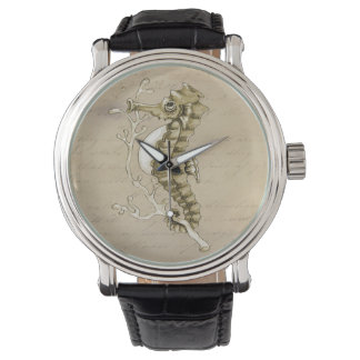 Old Fashioned Seahorse on Vintage Paper Background Wristwatch