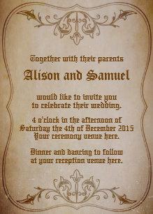 Old Fashioned Sepia Wedding Invitation