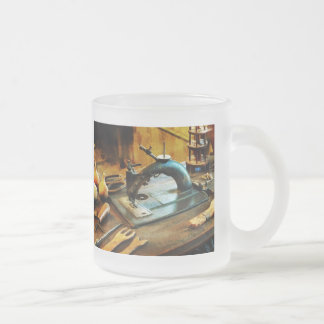 Old-Fashioned Sewing Machine Frosted Glass Coffee Mug