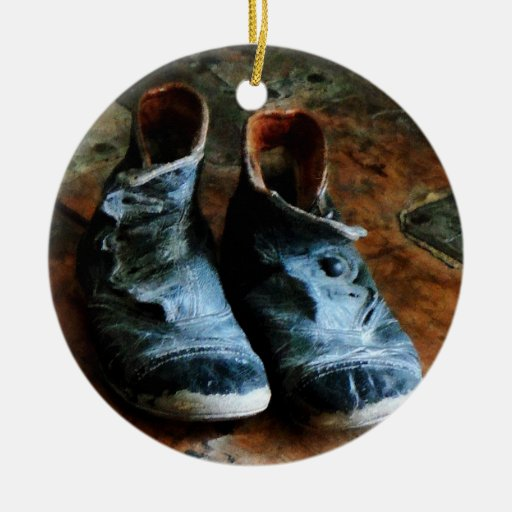 Old Fashioned Shoes Double-Sided Ceramic Round Christmas Ornament