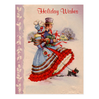 Old Fashioned Shopping Business Christmas Postcard