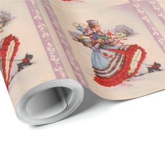 Old Fashioned Shopping Christmas Wrapping Paper