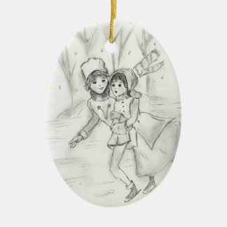 Old Fashioned Skaters Ceramic Ornament