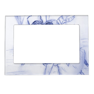 Old Fashioned Skaters in Blue Magnetic Frame