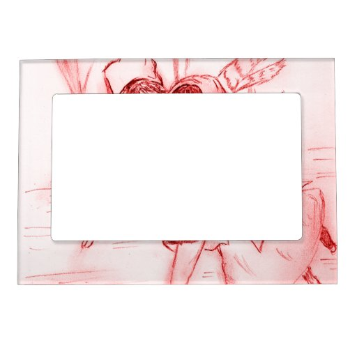 Old Fashioned Skaters in Red Picture Frame Magnet