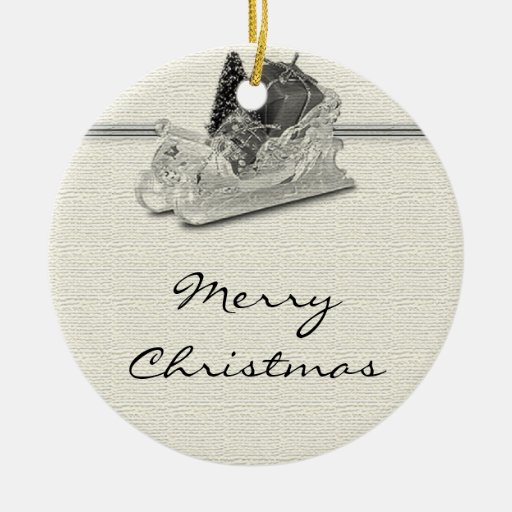 Old Fashioned Sleigh On Linen Pattern Double Sided Ceramic