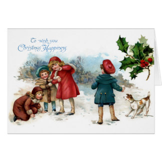 Old Fashioned Snowball Fight on Christmas Card