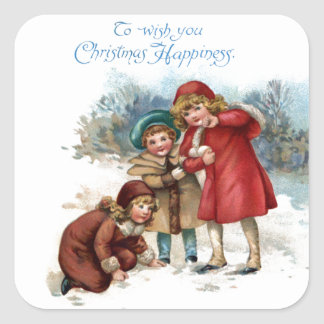Old Fashioned Snowball Fight on Christmas Square Sticker