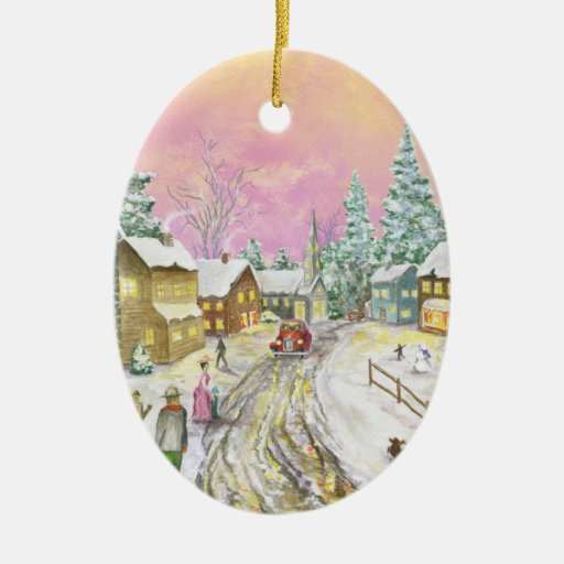 Old Fashioned Snowland Christmas Ornament Zazzle