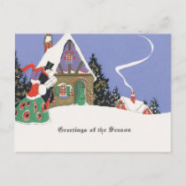 Old Fashioned Snowy Christmas Holiday Postcard