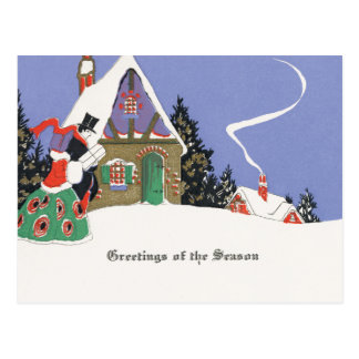 Old Fashioned Snowy Christmas Postcard