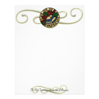 Old Fashioned Stained Glass look Christmas Bells Customized Letterhead