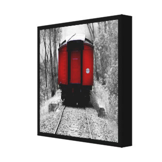 Old Fashioned Steam Train with Red Caboose Canvas Print