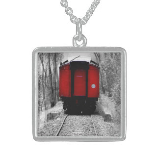 Old Fashioned Steam Train with Red Caboose Square Pendant Necklace