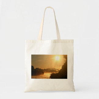 Old-fashioned steamboat with paddlewheel budget tote bag