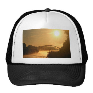 Old-fashioned steamboat with paddlewheel trucker hat