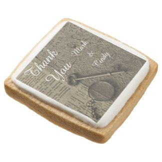 Old Fashioned Steampunk Wedding Square Shortbread Cookie