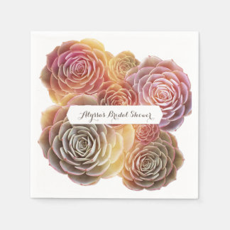Old Fashioned Succulents Bridal Shower Paper Napkin