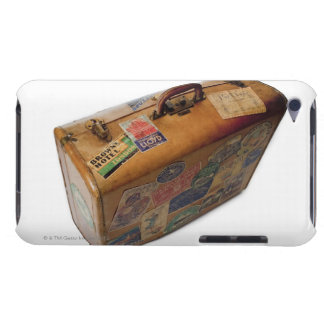 old fashioned suitcase with travel stickers barely there iPod cover