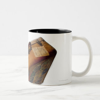 old fashioned suitcase with travel stickers Two-Tone coffee mug