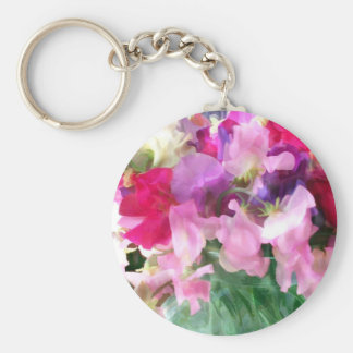 Old Fashioned Sweetpeas in a Jar Basic Round Button Keychain