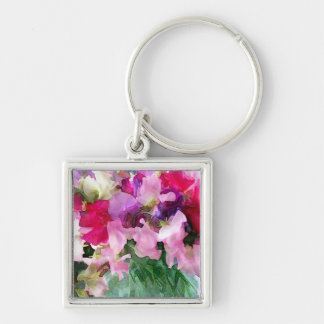 Old Fashioned Sweetpeas in a Jar Silver-Colored Square Keychain