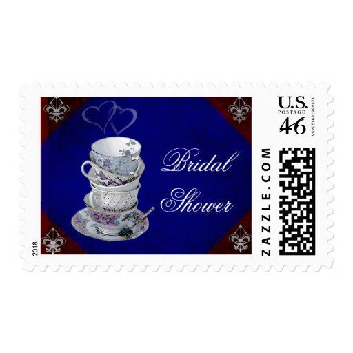 Old fashioned teacups for Bridal Shower Tea Party Stamp