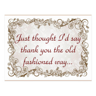 Old fashioned thank you postcard