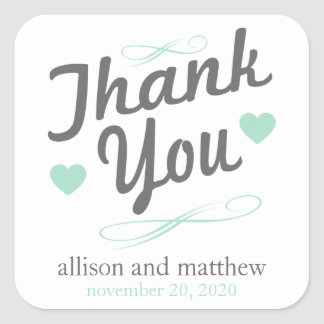 Old Fashioned Thank You Stickers (Gray / Green)