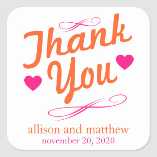 Old Fashioned Thank You Stickers (Orange / Pink)