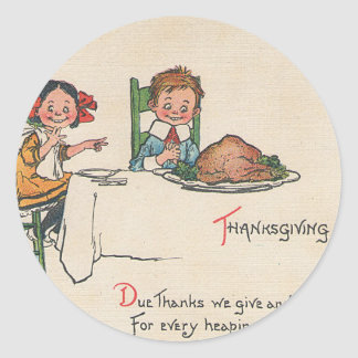 old fashioned thanksgiving classic round sticker