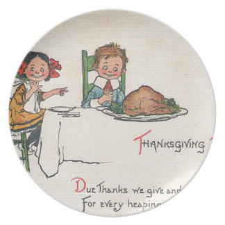 Old Fashioned Thanksgiving Melamine Plate