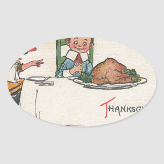 old fashioned thanksgiving oval sticker