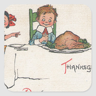 old fashioned thanksgiving square sticker