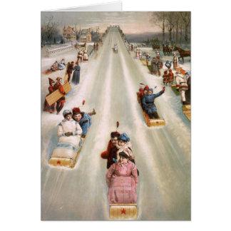 Old Fashioned Toboggan Run Vintage Christmas Card