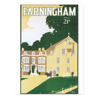 Old fashioned travel poster for Farningham Postcard