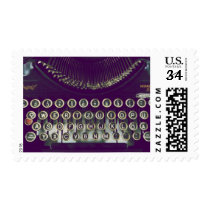 typewriter, old fashioned, retro, 50s, keyboard, vintage, writer, nostalgia, old typewriter, stamp, collectibles, old school, classic, funny, geek, fantasy, old, unique, postage, Stamp with custom graphic design