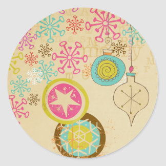 Old Fashioned Typography Holiday Round Sticker