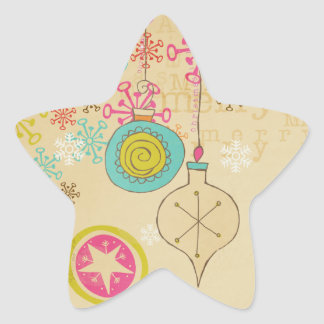 Old Fashioned Typography Holiday Star Sticker
