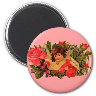 Old Fashioned Valentine Cupid 2 Inch Round Magnet