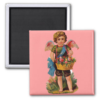 Old Fashioned Valentine Cupid With Roses 2 Inch Square Magnet
