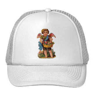 Old Fashioned Valentine Cupid With Roses Trucker Hat