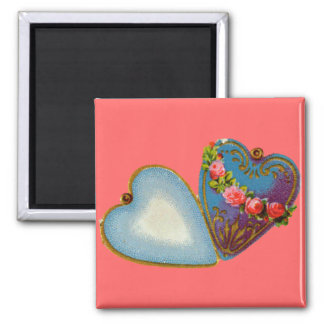 Old Fashioned Valentine 2 Inch Square Magnet