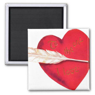 Old Fashioned Valentine's Heart 2 Inch Square Magnet