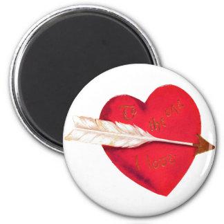 Old Fashioned Valentine's Heart 2 Inch Round Magnet