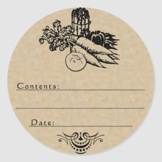 Old Fashioned Vegetable Canning Blank Template Classic Round Sticker