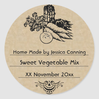 Old Fashioned Vegetable Canning Template 2 Classic Round Sticker
